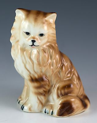 Vintage Bone China Long Haired Fluffy Brown Striped Cat Figurine Gloss Finish
