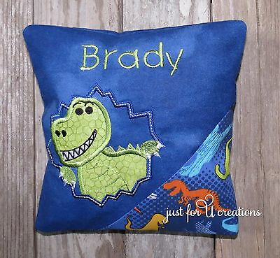 Boy's Personalized Embroidered Tooth Fairy Pillow Dinosaur T-Rex Design