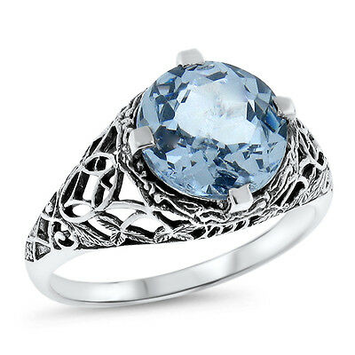 5 Ct. Sky Blue Sim Topaz Antique Filigree Design .925 Sterling Silver Ring, #548