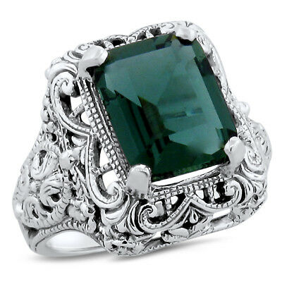 3 Ct. Green Sim Emerald Antique Art Deco Style .925 Sterling Silver Ring,   #528