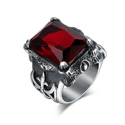 Stainless Steel Royal Cross Red Stone Biker Men's Ring Brutal Unique Ruby