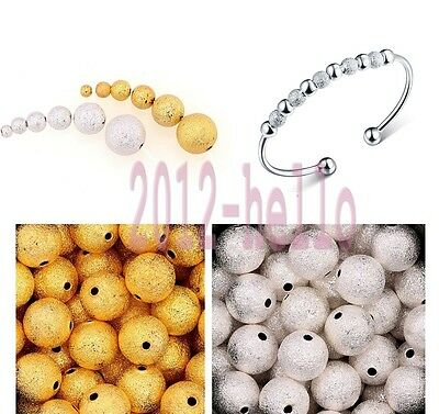 100x silver plated stardust ball spacer beads jewellery findings 3/4/5/6/8/10mm