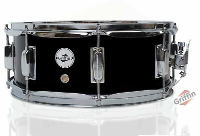 """Griffin Snare Drum – Black 14x5.5 Poplar Wood Shell 14"""" Percussion Kit Set 5.5"""""""