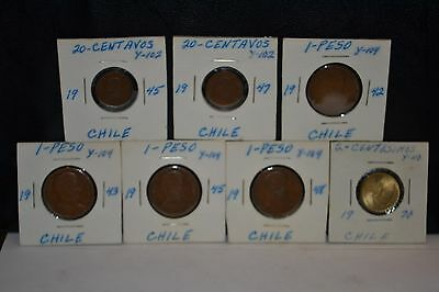 Seven Piece 1942-1970 Chile Coin Set