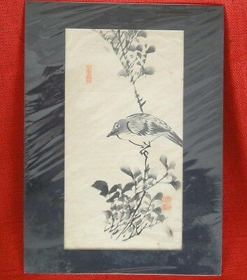 "Antique Japanese Signed Original Sumi - E Painting "" A Bird On A Bush """
