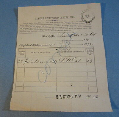 1872 Idaho City Post Office Document - Registered Letter - to San Francisco