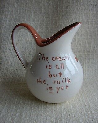 """Vtg Ruth Price Mottoware Redware Creamer """"The Cream is All But The Milk is Yet"""""""