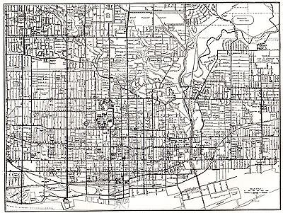 1949 TORONTO Ontario Map Black and White Ontario Print Gallery Wall Art 1433
