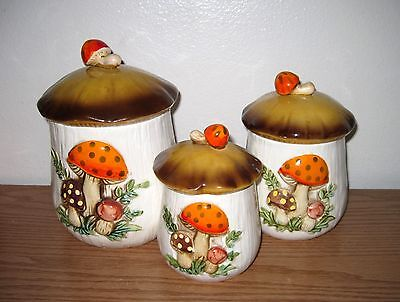 Set of 3 Ceramic Merry Mushroom Kitchen Canisters