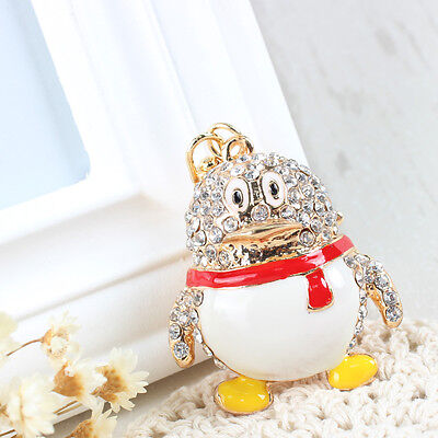 Lovely Penguin New Pendant Rhinestone Crystal Purse Bag Key Chain Creative Gift