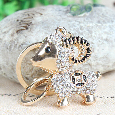 Lovely Lamb Sheep Fortune Coin Charm Pendant Crystal Purse Bag Keyring Chain Gif