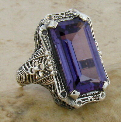 9 Ct COLOR CHANGING LAB ALEXANDRITE ANTIQUE STYLE .925 STERLING SILVER RING, #43