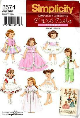 """SIMPLICITY ARCHIVES 3574 OOP RETRO 8"""" DOLL CLOTHES SEWING PATTERN ~ USED"""