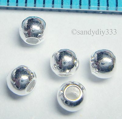 100x BRIGHT STERLING SILVER ROUND SEAMLESS SPACER BEAD 3mm N387
