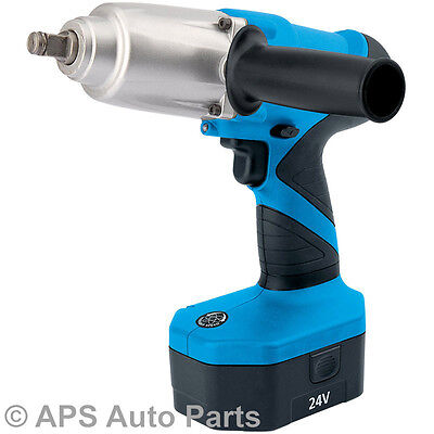 24v Cordless 1/2 Sq Dr Impact Wrench &  Two Batteries Removal Impact Socket New