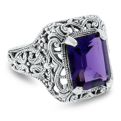 3 Carat Purple Lab Amethyst Antique Style .925 Sterling Silver Filigree Ring,#81
