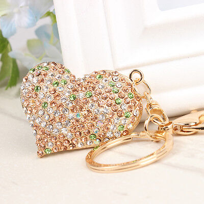 Sweet Love Heart Charm Pendant Crystal Purse Bag Key Ring Chain Exquisite Gift