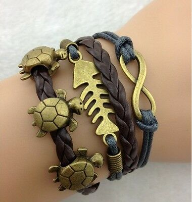 NEW Hot Retro Infinity Tortoise Fish Leather Charm Bracelet plated Copper B2AD