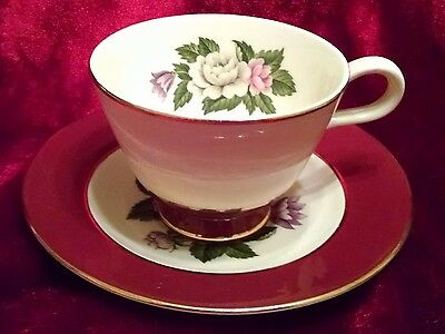 Footed Cup & Saucer Set in Margaret Rose-Maroon by Homer Laughlin Eggshell