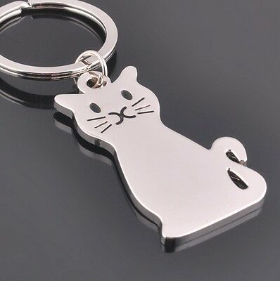 New Design Silver Metal Persian Cat Bag Keychain Great Gift Key Fob