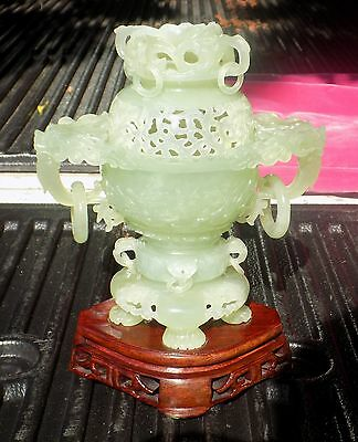 Big Very Finely Carved Reticulated Jade Incense Burner With Foo Dogs And Dragons