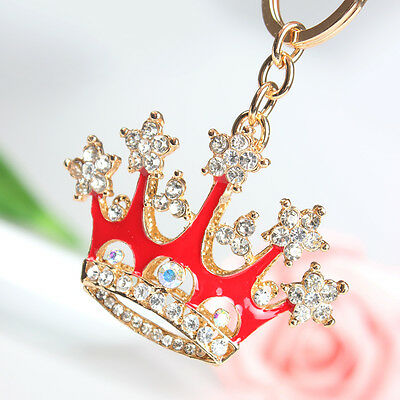Red King Crown Pendant Charm Chai Crystal Purse Bag Key Ring Accessories Gift