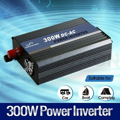 Pure Sine Wave Power Inverter 300W/600W Car Boat Caravan Camping 12V-240V