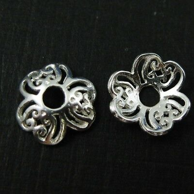 Bead Caps , Solid 925 Sterling Silver - 9mm ( 10 pcs)