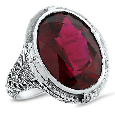 Huge 19 Ct Red Lab Ruby Heavy Victorian Design .925 Sterling Silver Ring,   #582
