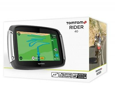 Tomtom /tom Tom Rider 40 Europa 19 Motorrad Bike Navigation Lifetime Maps 4,3""