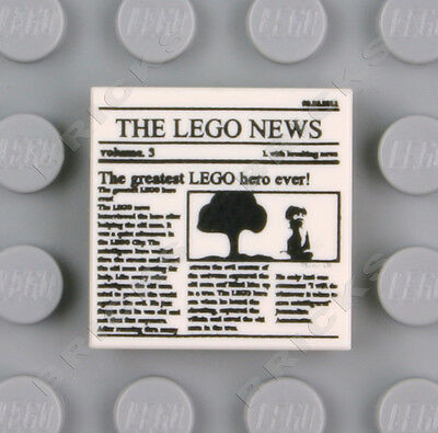 LEGO White Tile 2x2 with Newspaper /'THE LEGO NEWS/' MINT 10937 10233 76005 NEW!
