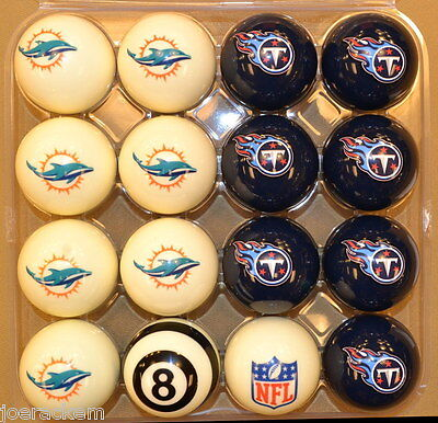 NFL Pool Ball Set - Miami Dolphins VS Tennessee Titans - FREE US SHIPPING