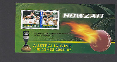 Australia 2007 Ashes MS SG 2738 with red overprint victoria philatelic congres