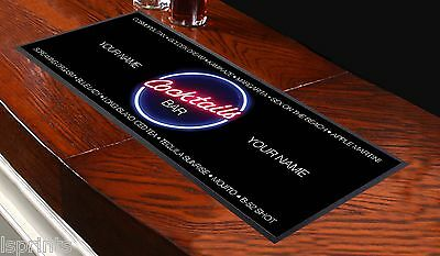 PERSONALISED Cocktail NAMES WHITE TEXT Bar Towel Runner Pub Mat Beer Cocktail