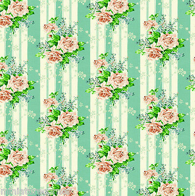 Dolls House Wallpaper 1/12th 1/24th scale Green Stripe Floral Quality Paper #330