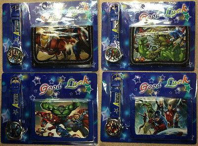 New 12 X The Avengers Quartz Watch and Purses Wallet Sets Children Part Gifts