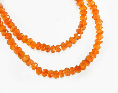 120 Carnelian Faceted Rondelle Beads 3.5-4mm. 13.5 inches