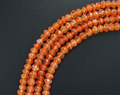 110 Carnelian Faceted Rondelle Beads 3.8-4mm. 13 inches