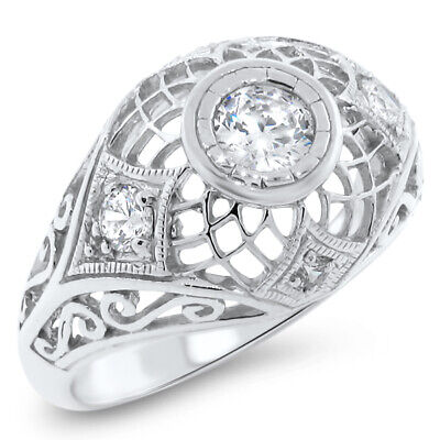 Antique Filigree Design .925 Sterling Silver White Cz Ring,   #622