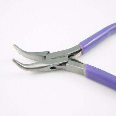 Beadsmith Super-fine Bent Chain Nose Jewelry, Craft Making Pliers with Spring