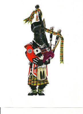 5x7 print of painting RYTA SCOTTISH TERRIER SCOTTIE BAGPIPES CHRISTMAS PRESENT