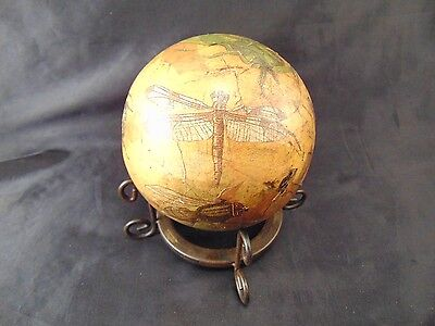 Bug ball metal stand decoupage craft dragonflies beetles vintage nature art vtg