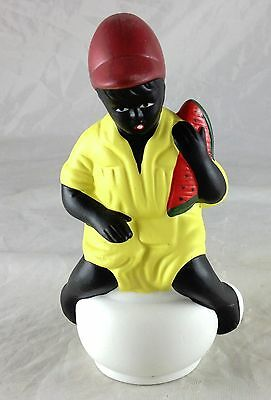 BLACK AMERICANA PORCELAIN BISQUE FIGURINE BOY SITTING ON CHAMBER POT WITH MELON