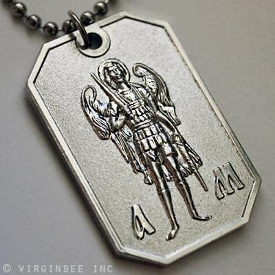Archangel St.michael Saint Protect Me Prayer Pendant Dog Tag Ball Chain Necklace