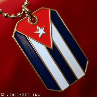 Cuba Flag Pendant Cuban Heritage Dog-Tag Ball Chain Necklace Cubana Bandera
