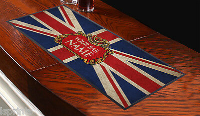 Personalised Beer Label Grunge Union Jack Bar Runner Ideal For Any Occasion Pub