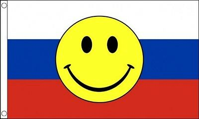 RUSSIA SMILEY FACE FLAG 5' x 3'  Russian USSR Eurovision Song Contest Party