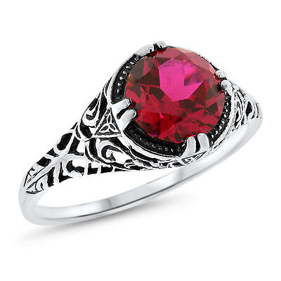2.5 Ct Red Lab Ruby .925 Sterling Silver Antique Filigree Style Ring,       #641