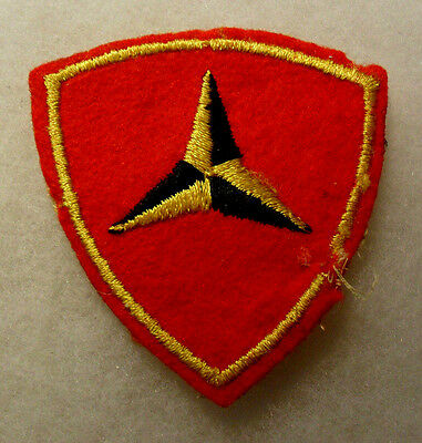 Wwii Rare Reverse Variant 3Rd Marine Div Yellow Panel First On Caltrap On Felt