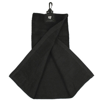 Masters Tri-Fold Golf Towel Black With Clip For Golf Bag Attachment
